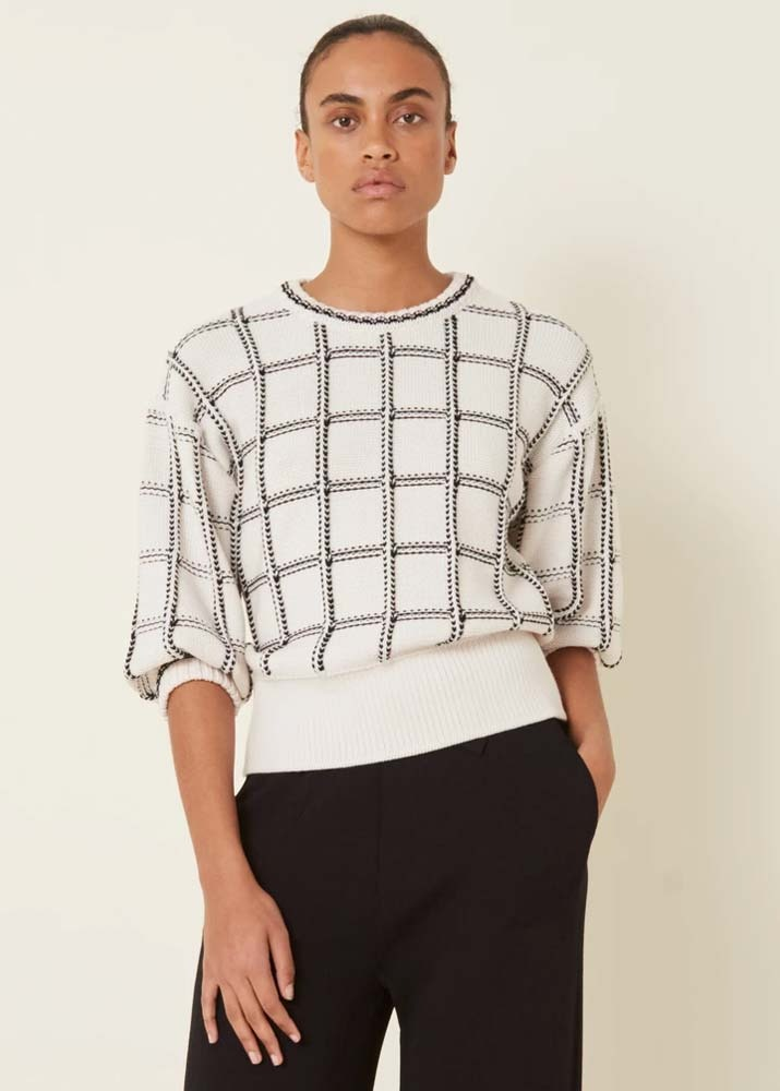 MOLLI _ Plaid Knit Top Ivory/Deep Black