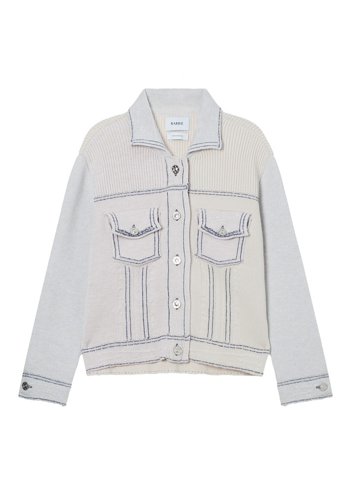 BARRIE _ Patchwork Fitted Denim Jacket Cardigan Beige